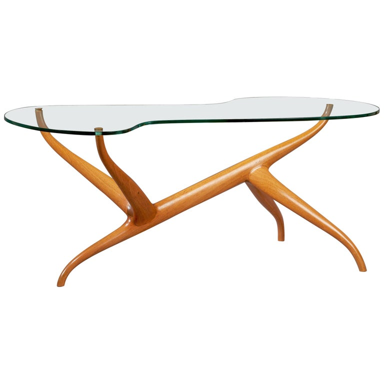 Pierluigi Giordani Exceptional Sculptural Oak & Glass Coffee Table, Italy, 1950s For Sale