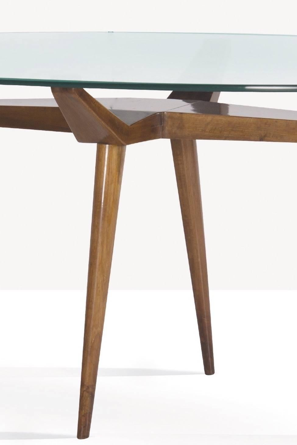Mid 20th Century Exceptional Pierluigi Giordani Biomorphic Walnut U0026 Glass  Dining Table Italy 1955 For