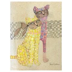 "Piero Aversa ""Masquerading Cats"" Original Mixed-Media, circa 1970s"