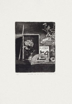 A Box with Flowers - Original Etching by Piero Cesaroni - 2000
