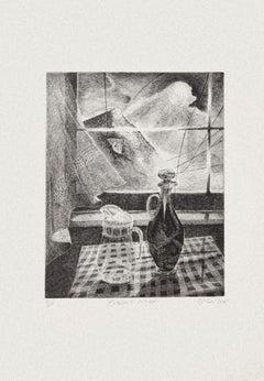 Still Life and Window - Original Etching by Piero Cesaroni - 2005
