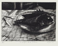 The Scorpionfish without the Glass - Original Etching by Piero Cesaroni - 1994