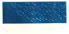 Blue Composition - Original Aquatint by Piero Dorazio - 1984