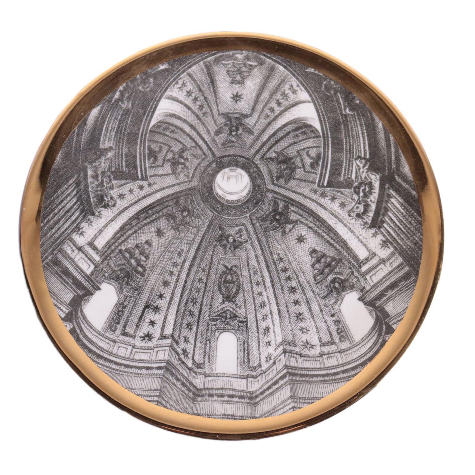 Piero Fornasetti '1913-1988' Plate Porcelain Milan, Italy, 1960s