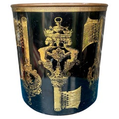 Piero Fornasetti 1950's Black and Gold Stencilled Key Design Paper Waste Basket