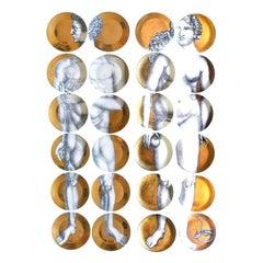 Piero Fornasetti Adam & Eve Gold Porcelain Plates