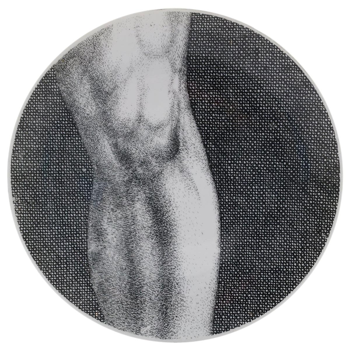Piero Fornasetti Adamo or Adam Porcelain Plate # 4, Signed, Excellent Condition