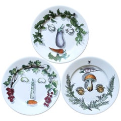 Piero Fornasetti Arcimboldo Vegetali Plates, a Set of Three, 1955s-1960s