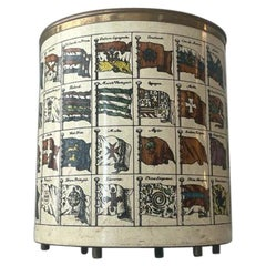 Piero Fornasetti Bandiere Wastepaper Basket Silkscreened Metal Brass, 1960