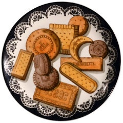 Piero Fornasetti Biscotti Pattern Porcelain Plate, with Trompe L'oeil Cookies