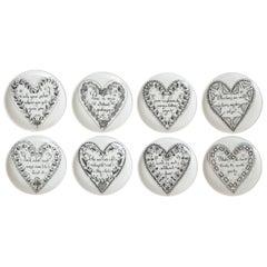 Piero Fornasetti Black and White Love Porcelain Coasters or Small Plates Set /8