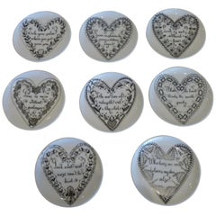 Piero Fornasetti Black and White Porcelain Heart Love Coasters Set / 6 Barware