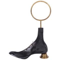 "Piero Fornasetti Black Cast Iron and Brass ""Shoe Form"" Doorstop, 1940s"