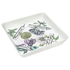 "Piero Fornasetti ""Botanica Pratica"" Porcelain Serving Bowl Mid-Century Modern"