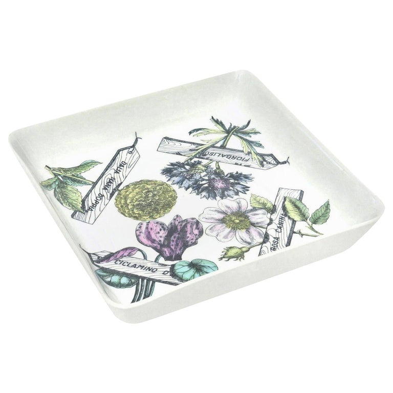 "Piero Fornasetti ""Botanica Pratica"" Porcelain Serving Bowl Mid-Century Modern For Sale"