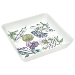 "Piero Fornasetti ""Botanica Pratica"" Square Porcelain Bowl Vintage"