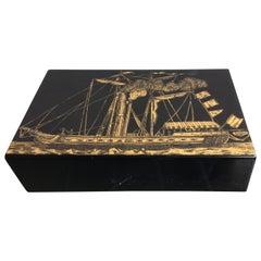 Piero Fornasetti Box Wood Metal Crome Gold, 1960, Italy