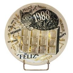Piero Fornasetti Calendar Porcelain Plate for the Year 1988