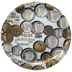 Piero Fornasetti Calendar Porcelain Plate for the Year 1989