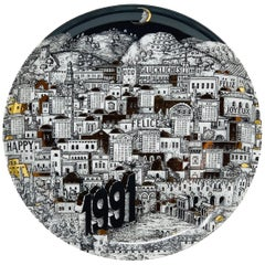 Piero Fornasetti Calendar Porcelain Plate for the Year 1991
