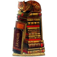 Piero Fornasetti Cat on Books Metal Umbrella Stand, 1960