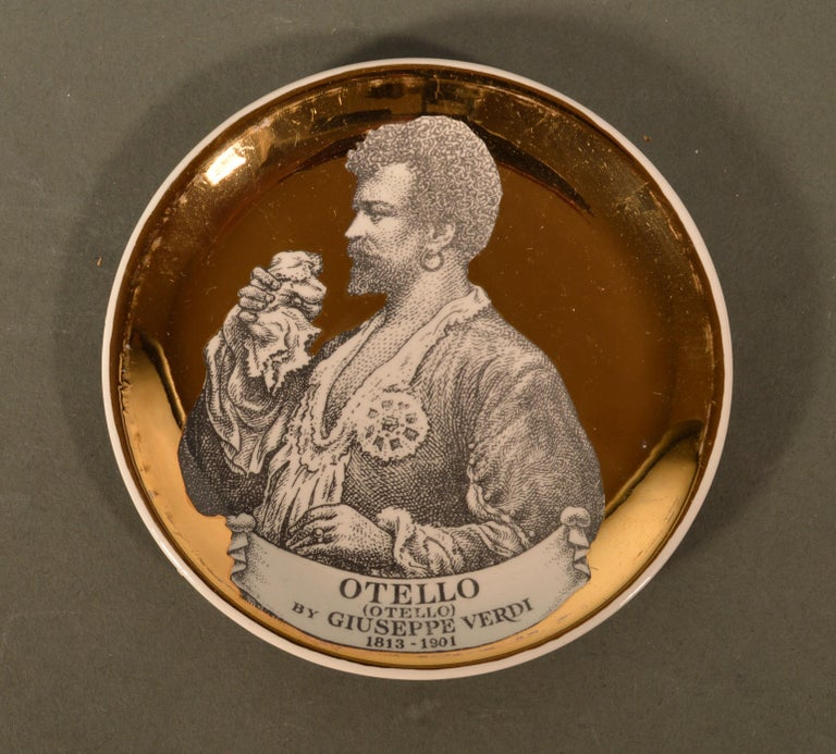 Mid-Century Modern Piero Fornasetti Ceramics Coasters, Melodramma Pattern 'Melodrama', Boxed Set