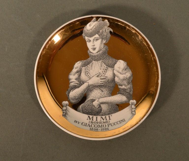 Italian Piero Fornasetti Ceramics Coasters, Melodramma Pattern 'Melodrama', Boxed Set