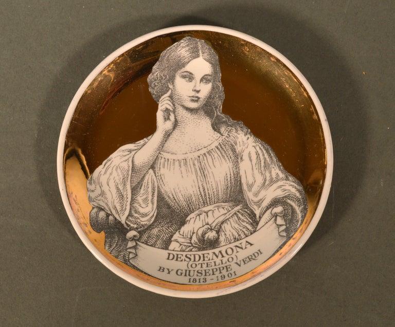 Mid-20th Century Piero Fornasetti Ceramics Coasters, Melodramma Pattern 'Melodrama', Boxed Set