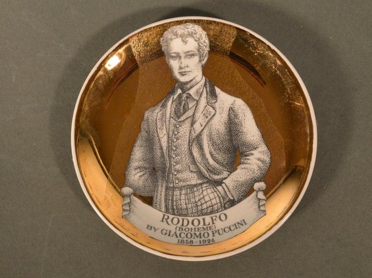 Piero Fornasetti Ceramics Coasters, Melodramma Pattern 'Melodrama', Boxed Set 2