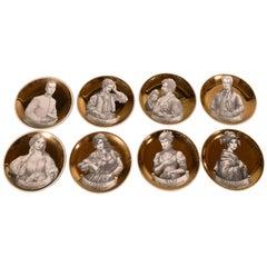 Piero Fornasetti Ceramics Coasters, Melodramma Pattern 'Melodrama', Boxed Set