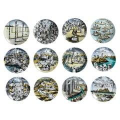 Piero Fornasetti Citta di Carte City of Cards Plates in Complete Set of 12