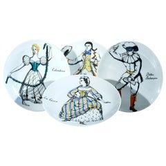 Piero Fornasetti Commedia Dell'arte Maschere Italiane Porcelain Plates
