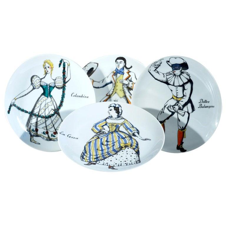 Piero Fornasetti Commedia Dell'arte Maschere Italiane Porcelain Plates For Sale