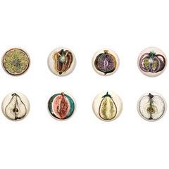 Piero Fornasetti Complete Set of Eight Sezioni di Frutta Porcelain Plates, 1960s