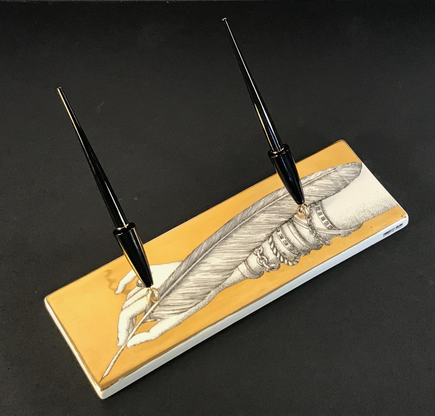 Piero Fornasetti Double Pen Holder Hand with Quill