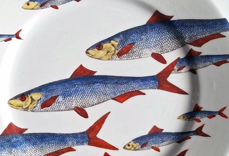 Italian Piero Fornasetti Fish Plate, Passata de pesce 'Passage of Fish', circa 1950s For Sale