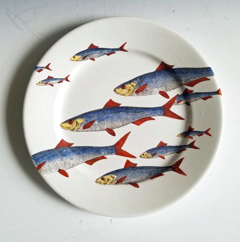Piero Fornasetti Fish Plate, Passata de pesce 'Passage of Fish', circa 1950s In Excellent Condition For Sale In Maryknoll, NY