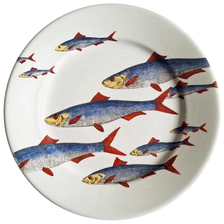 Piero Fornasetti Fish Plate, Passata de pesce 'Passage of Fish', circa 1950s For Sale
