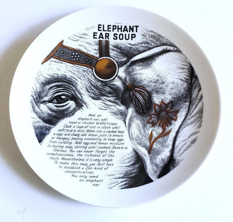 Piero Fornasetti Fleming Joffe porcelain recipe plate, With original