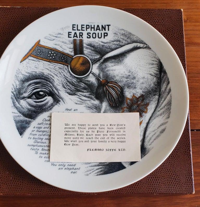 Mid-Century Modern Piero Fornasetti Fleming Joffe Porcelain Recipe Plate, Elephant Ear Soup For Sale