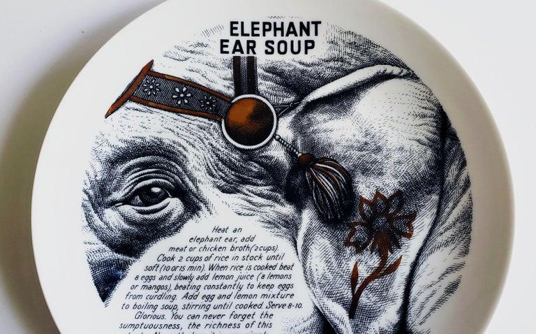 Italian Piero Fornasetti Fleming Joffe Porcelain Recipe Plate, Elephant Ear Soup For Sale