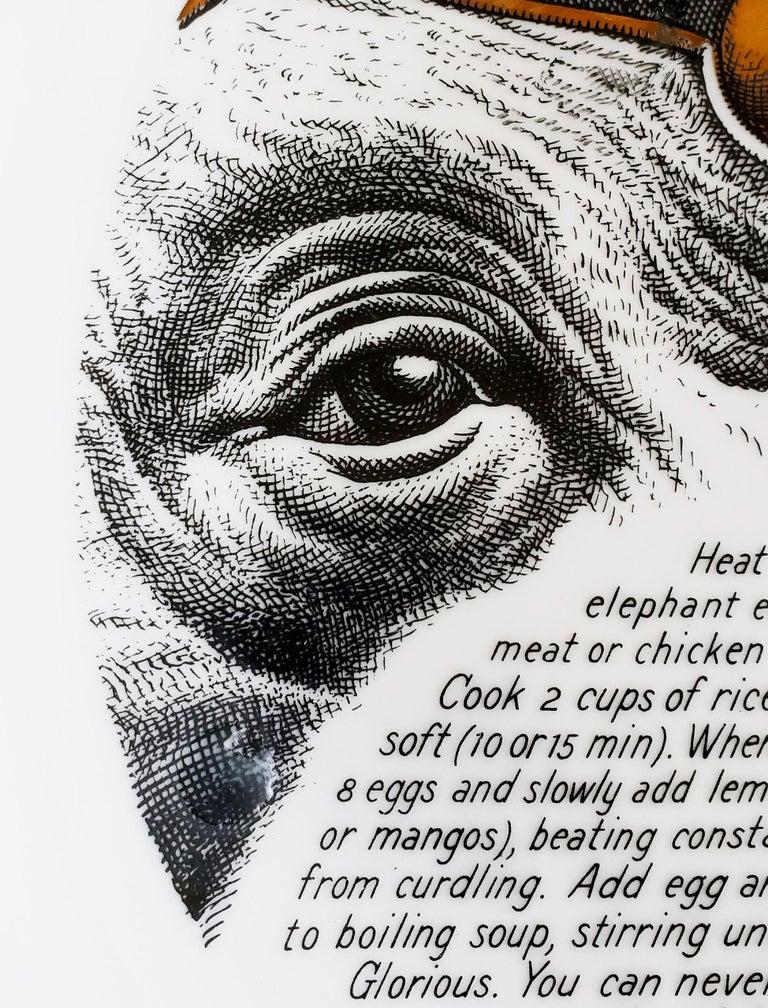 Mid-20th Century Piero Fornasetti Fleming Joffe Porcelain Recipe Plate, Elephant Ear Soup For Sale