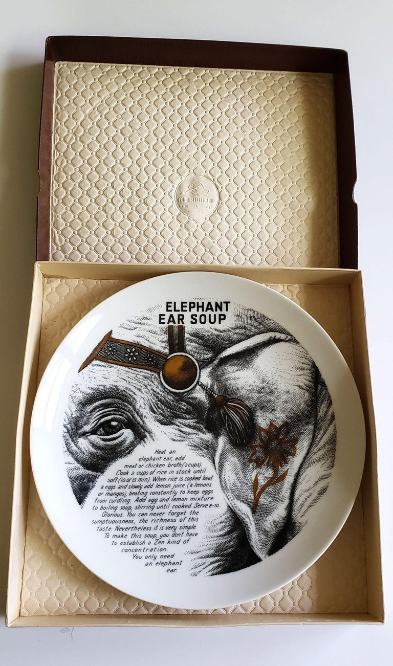 Piero Fornasetti Fleming Joffe Porcelain Recipe Plate, Elephant Ear Soup For Sale 3