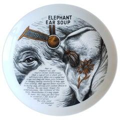 Piero Fornasetti Fleming Joffe Porcelain Recipe Plate, Elephant Ear Soup