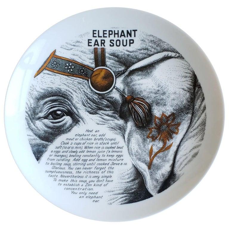 Piero Fornasetti Fleming Joffe Porcelain Recipe Plate, Elephant Ear Soup For Sale