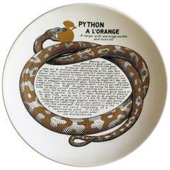 Piero Fornasetti Fleming Joffe Porcelain Recipe Plate, Python a La Orange
