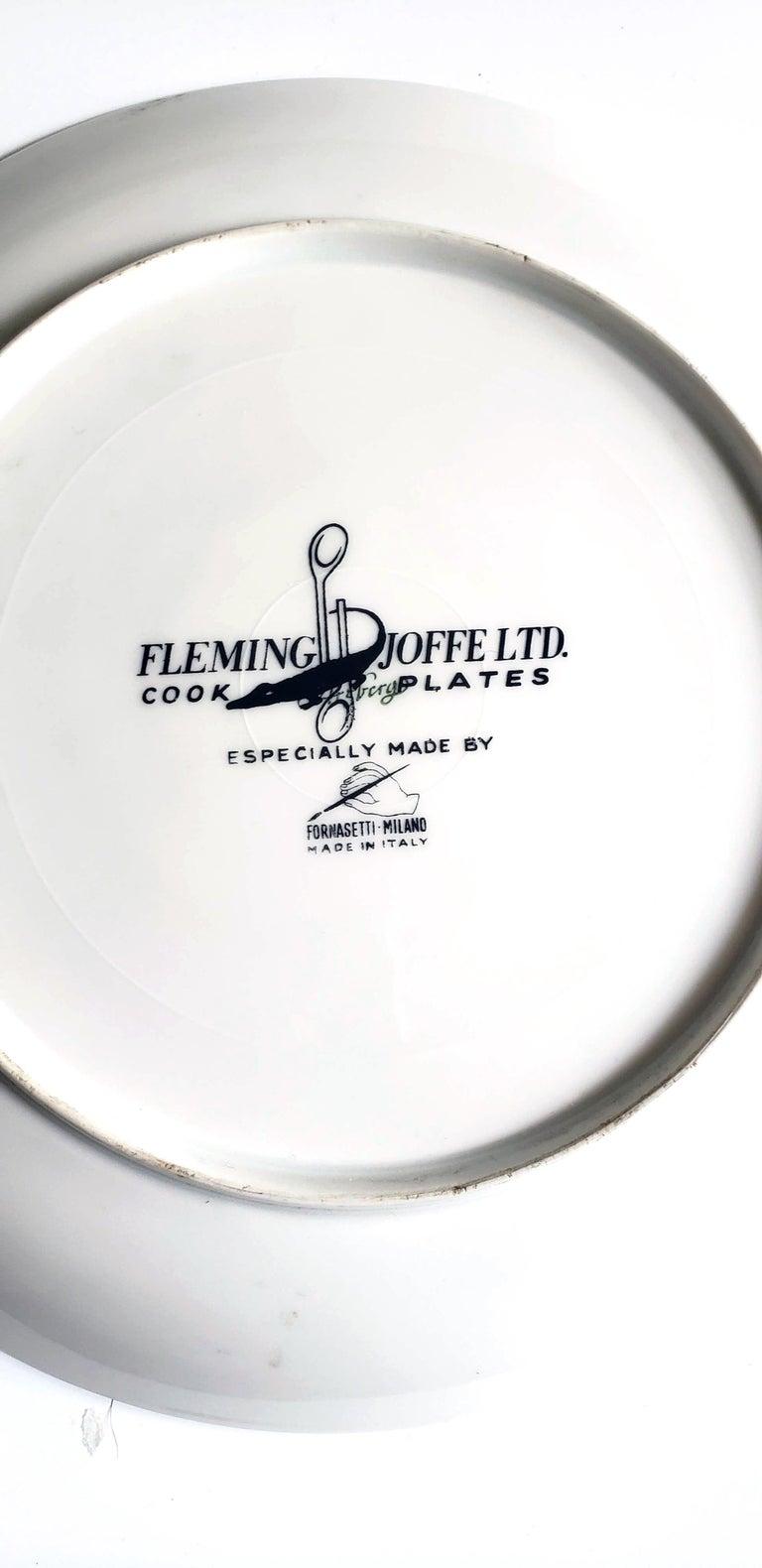 Mid-Century Modern Piero Fornasetti Fleming Joffe Porcelain Recipe Plate, Snake a la Cleopatra For Sale