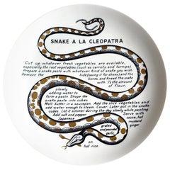 Piero Fornasetti Fleming Joffe Porcelain Recipe Plate, Snake a la Cleopatra