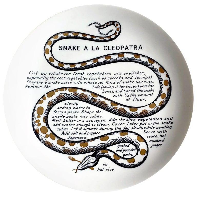 Piero Fornasetti Fleming Joffe Porcelain Recipe Plate, Snake a la Cleopatra For Sale