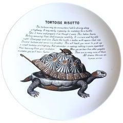 Piero Fornasetti Fleming Joffe Porcelain Recipe Plate, Tortoise Risotto, 1960s